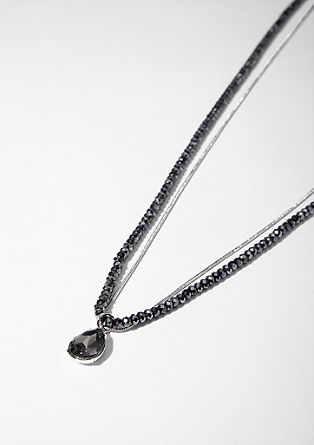 Double strand necklace with a teardrop pendant from s.Oliver