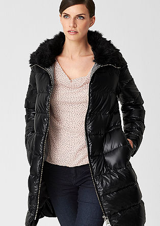 Down coat with fake fur from s.Oliver