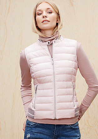 Down gilet with ribbed details from s.Oliver