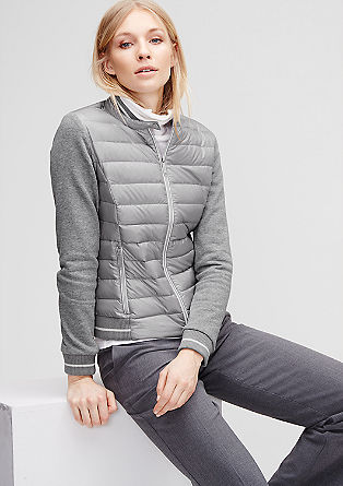 Down jacket with sweat sleeves from s.Oliver