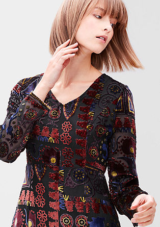 Dress with a velvet pattern from s.Oliver
