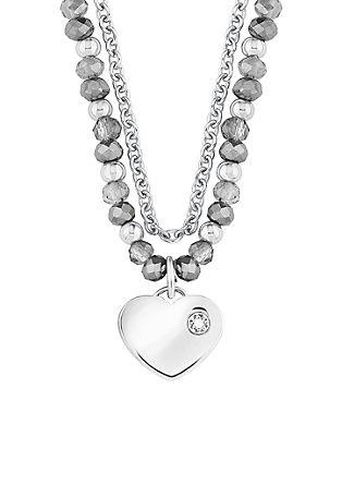 Dvojna ogrlica z obeskom v obliki srca
