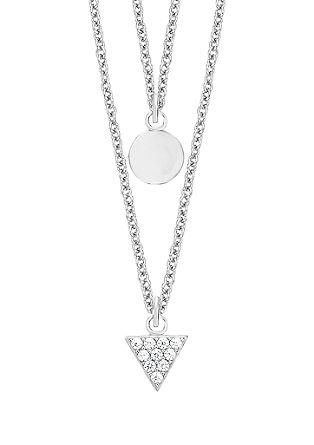 Dvojna ogrlica z obeskoma geometrijske oblike