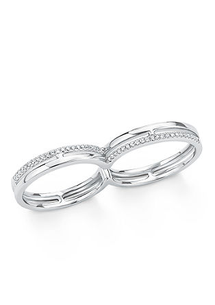 Dvojni prstan s cirkoni