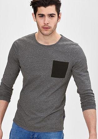 Džersi majica z dolgimi rokavi in prsnim žepom