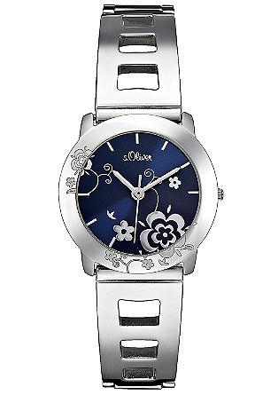 Edelstahl-Armbanduhr mit Blütendetail