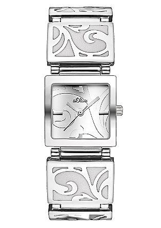 Edelstalen horloge in floraal design.