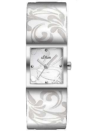 Edelstalen horloge met bloemendessin.