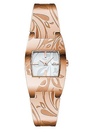 Edelstalen horloge met een gebloemd design