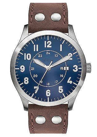 Edelstalen horloge met een leren used look armband