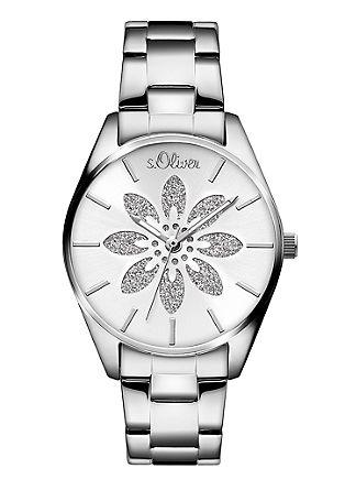 Edelstalen horloge met glinsterende bloem