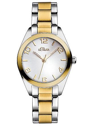 Edelstalen horloge met kleuraccenten.