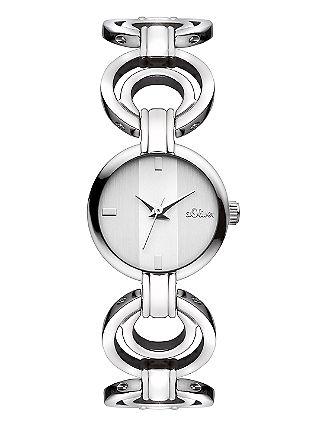 Edelstalen horloge met ornamenten
