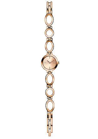 Edelstalen horloge met rose gold