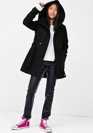 Elegante mantel met een wollen look