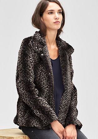 Elegantna jakna iz umetnega krzna