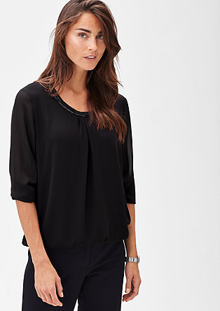 Embroidered chiffon blouse with an elasticated waistband from s.Oliver