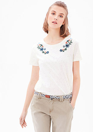 Embroidered jersey top from s.Oliver