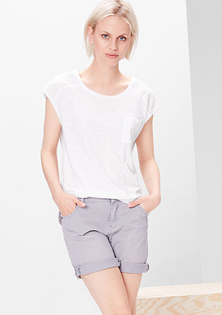 Embroidered slub yarn T-shirt from s.Oliver