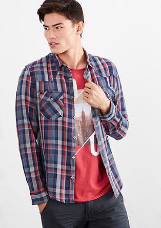 Extra Slim: check twill shirt from s.Oliver