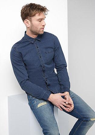 Extra Slim: Denim-Hemd mit Muster