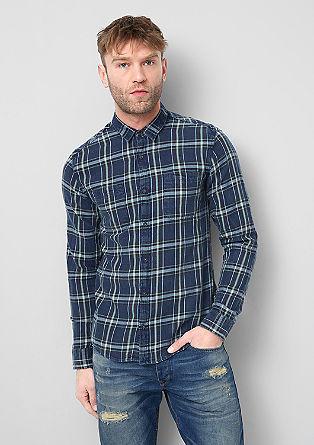 Extra slim: geruit overhemd in een denim look