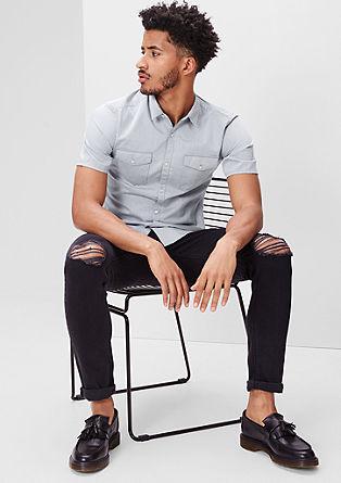 Extra Slim: Hemd aus Chambray-Stoff