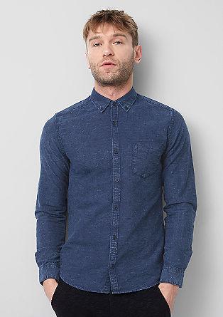 Extra Slim: Hemd aus Muster-Denim