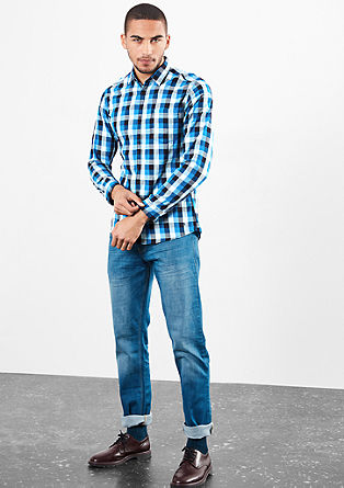 Extra Slim: Mehrfarbig Kariertes Hemd