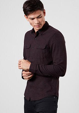 Extra Slim: Meliertes Flanellhemd