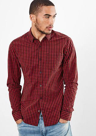 Extra slim: overhemd met lange mouwen en vichy-ruiten