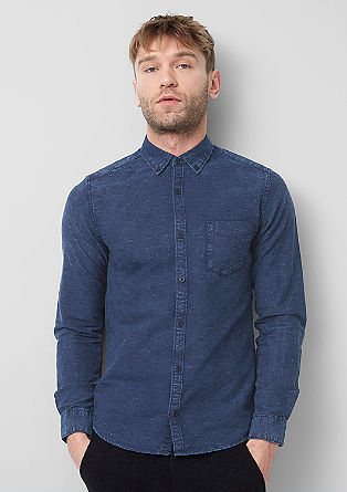 Extra Slim: Patterned denim shirt from s.Oliver