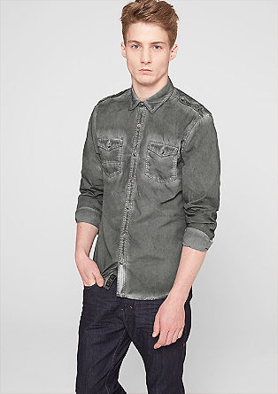 Extra slim: Pigment dyed shirt from s.Oliver