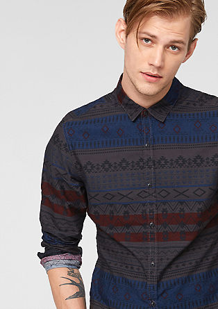 Extra Slim: shirt with an Inca pattern from s.Oliver