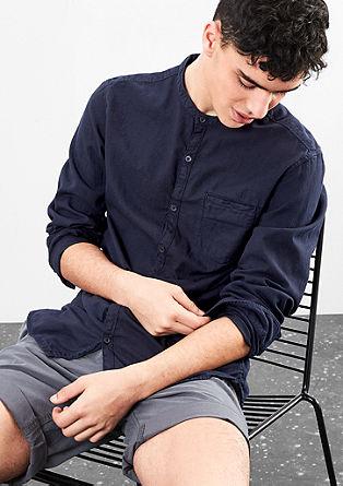Extra slim: ton sur ton katoenen overhemd