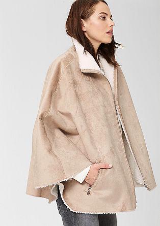 Fake Fur-Poncho mit Zipper