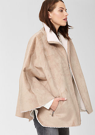 Fake fur poncho with zips from s.Oliver