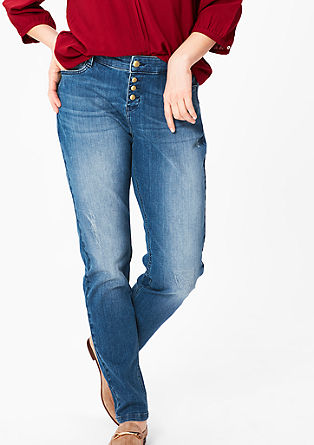 Fancy Fit: Jeans z delom z gumbi