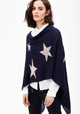 Feinstrick-Poncho mit Sternen