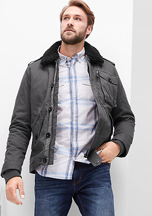 Field jacket with a plush collar from s.Oliver
