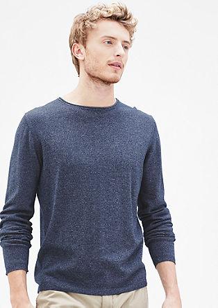 Fijn gemêleerde gebreide trui
