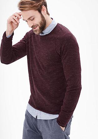 Fijn gemêleerde katoenen trui