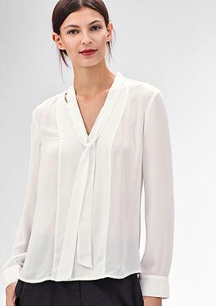 Fijne blouse van crêpe met striklint