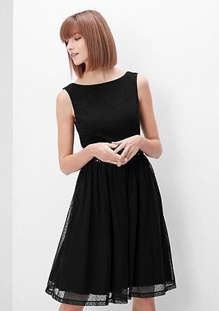 Fijne mesh jurk met stippen