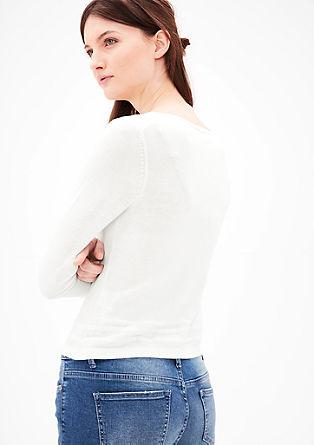 Fijngebreid vest met een fijne geribde rand
