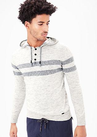 Fijngebreide hoodie met strepen