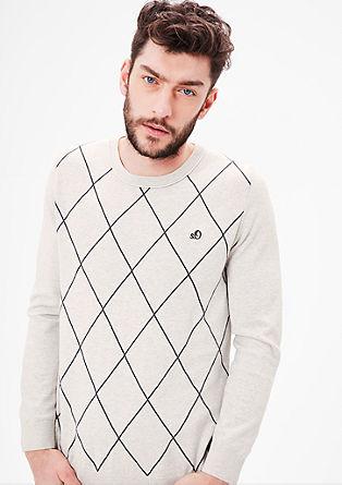 FIjngebreide trui met geruit motief