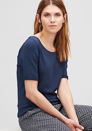 Fijngebreide trui met korte mouwen