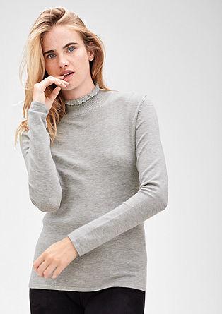 Fijngebreide trui met staande kraag