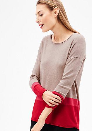 Fijngebreide trui met strepen